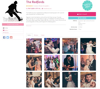 An example of supplier page on Easy Weddings