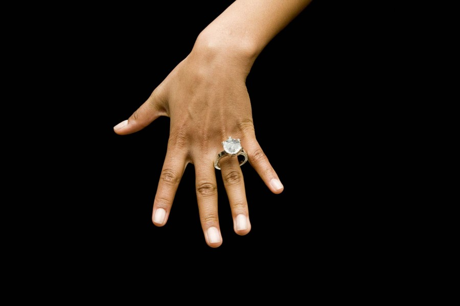 Woman wearing diamond ring
