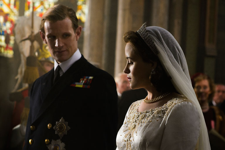 Claire Foy as Queen Elizabeth II and Matt Smith as Prince Phillip on the couple's wedding day. Image: Netflix