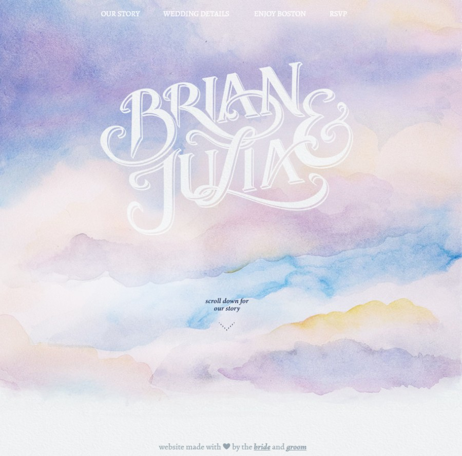 Brian and Julia's watercolour story on their custom wedding website. Image: brianlovesjulia