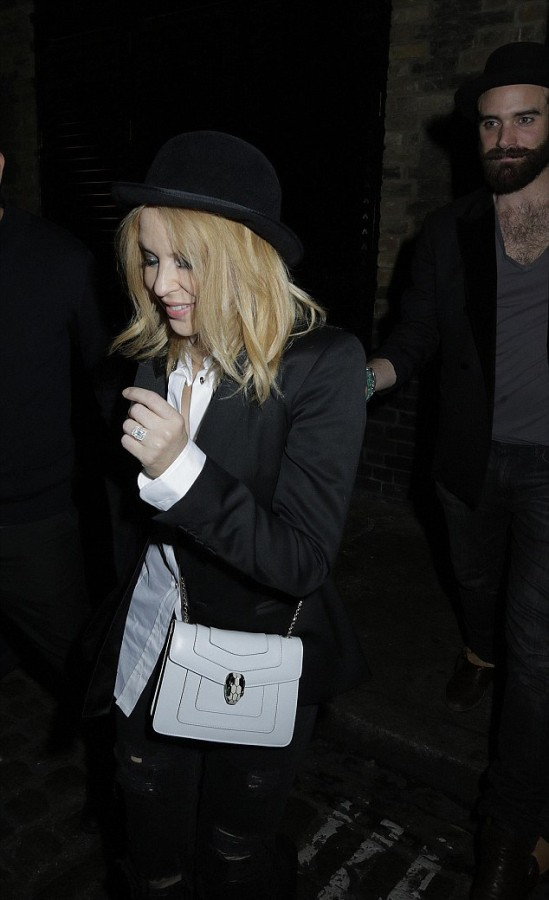 Kylie Minogue was photographed leaving a restaurant with Joshua sporting a grin and a HUGE sparkler on her wedding finger. Image: blitz pictures/timmclees/jamescurley via Daily Mail