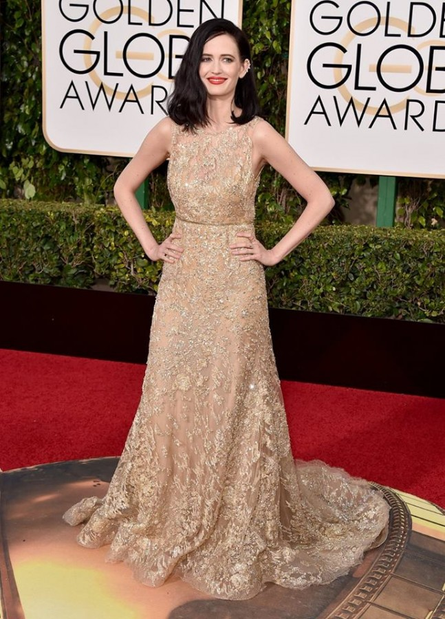 Eva Green in a decadent gold embroidered lace gown by Elie Saab. Image: Jordan Strauss/Invision/AP via Today Show