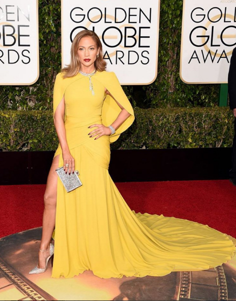 J.Lo Image Rachel Zoe via Instagram J.Lo in a canary yellow caped Giambattista Valli gown. Imagine this in white! Image: Rachel Zoe via Instagram
