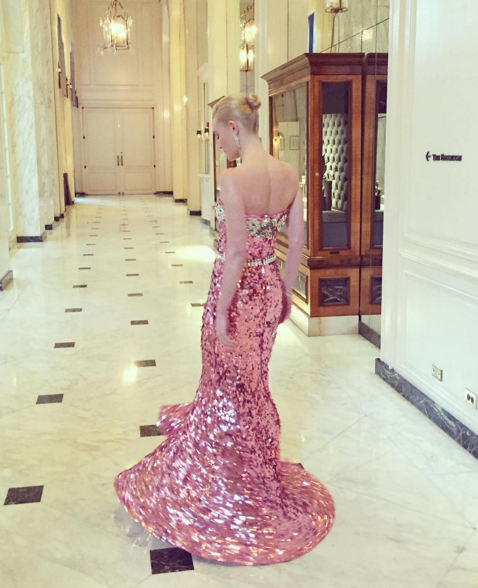 Kate Bosworth in a sparkly sequined Dolce and Gabbana strapless gown. Image: Kate Bosworth via Instagram