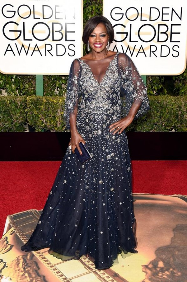 Viola Davis looking elegant in a three-quarter sleeve Marchesa gown. This would be a beautiful look for a mother of the bride! Image: Jason Merritt/Getty Images via Today Show