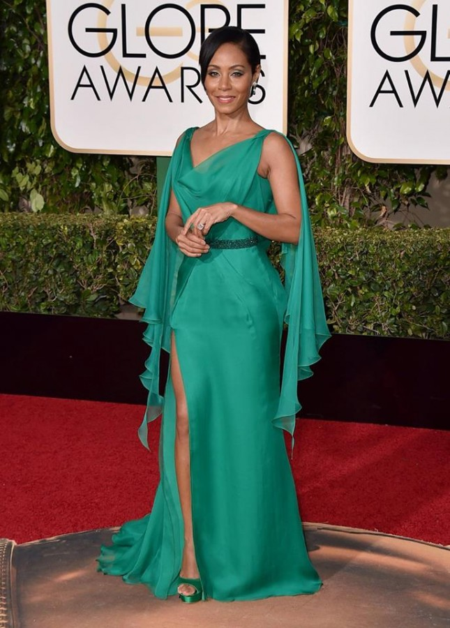 Jada Pinkett-Smith's Versace gown is a beautiful colour and style for bridesmaids. Image: Jordan Strauss/Invision/AP via Today Show