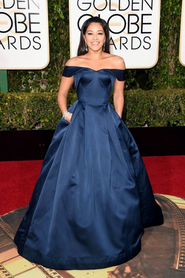 Gina Rodriguez looking regal in a midnight blue structured Zac Posen gown. Image: Jason Merritt/Getty Images via Today Show