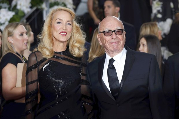 Jerry Hall and Rupert Murdoch at the 73rd Golden Globe awards. Image: Mario Anzuoni/Reuters via The Daily Mail