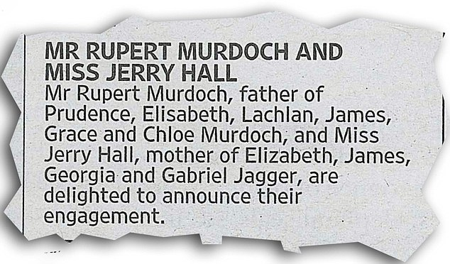 Rupert announced his engagement in the pages of his own newspaper, London's Times. Image: The Daily Mail