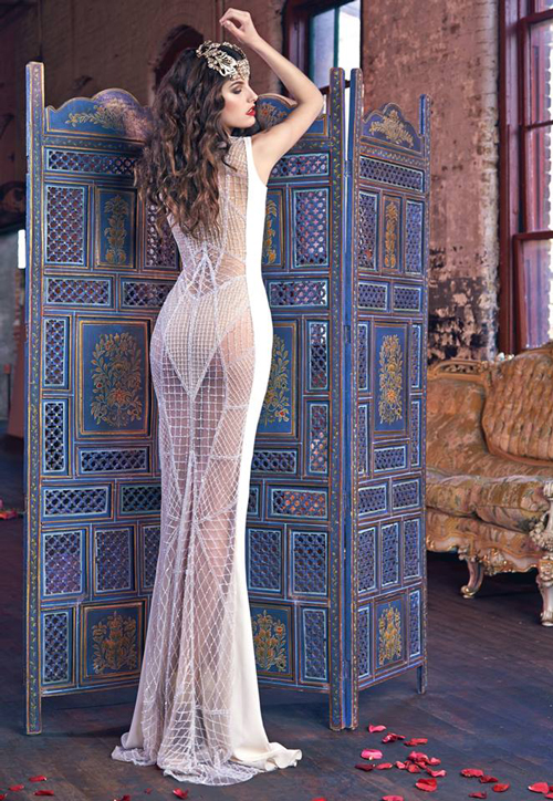 This Galia Lahav dress certainly embodies the notion of 'party in the back'. Image: Galia Lahav via Facebook