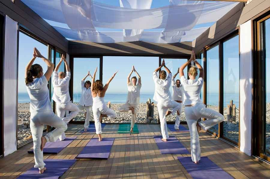 a yoga class at paradis plage