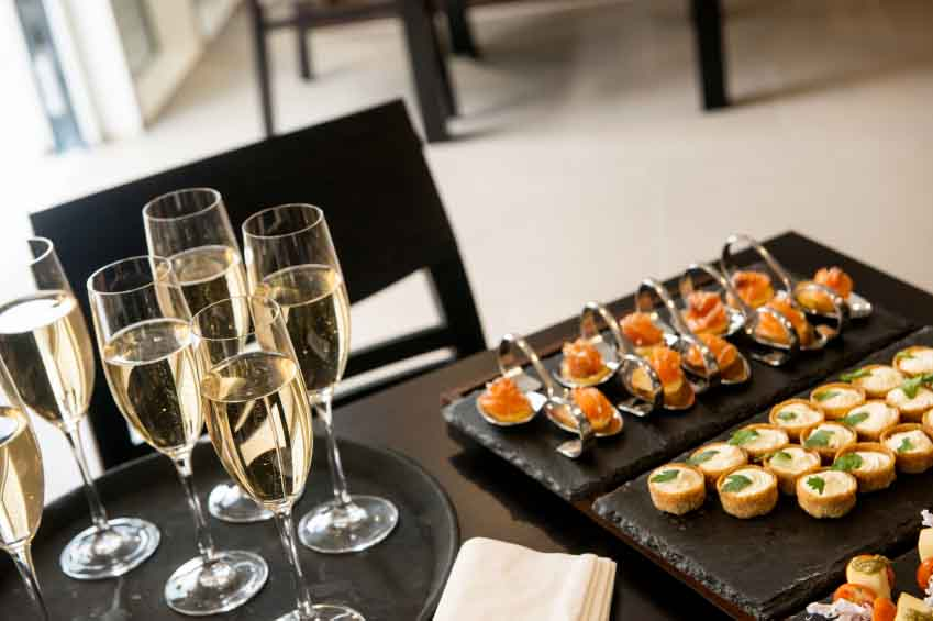 Wedding reception drinks sand canapes