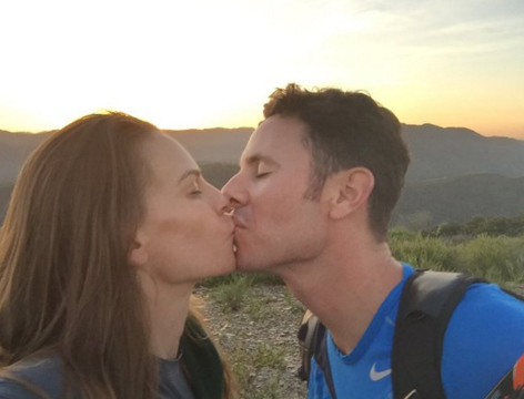 Hilary shared this sweet snap of her and fiance Ruben sharing a kiss to commemorate the occasion. Image Hilary Swank via Twitter