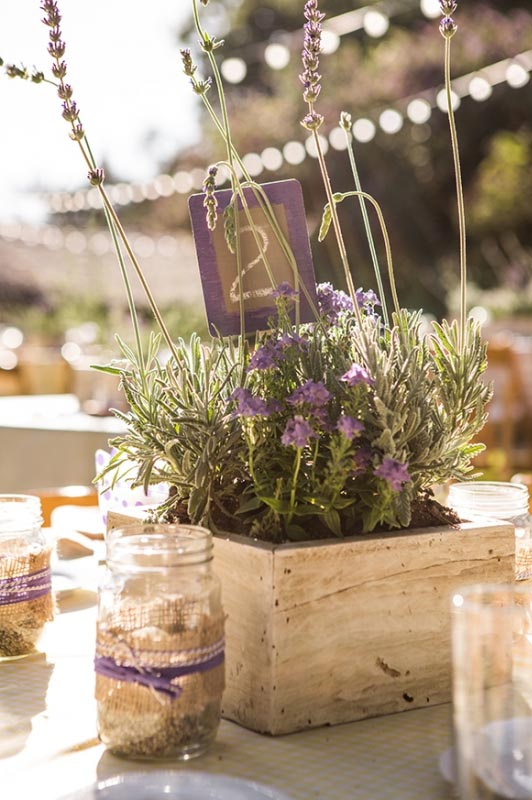 boxes of lavender wedding centrepiece