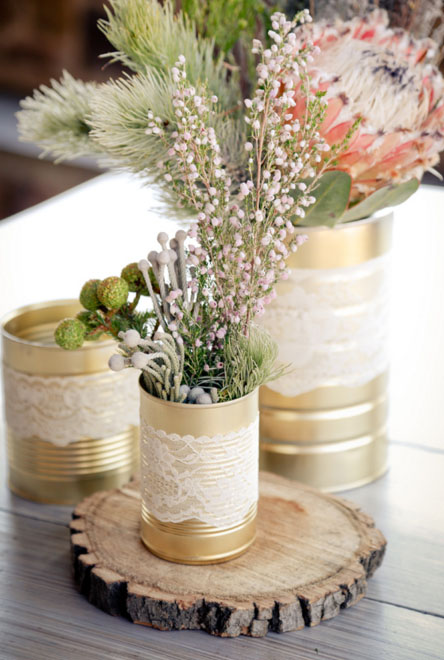 painted tins and jars wedding centrepieces
