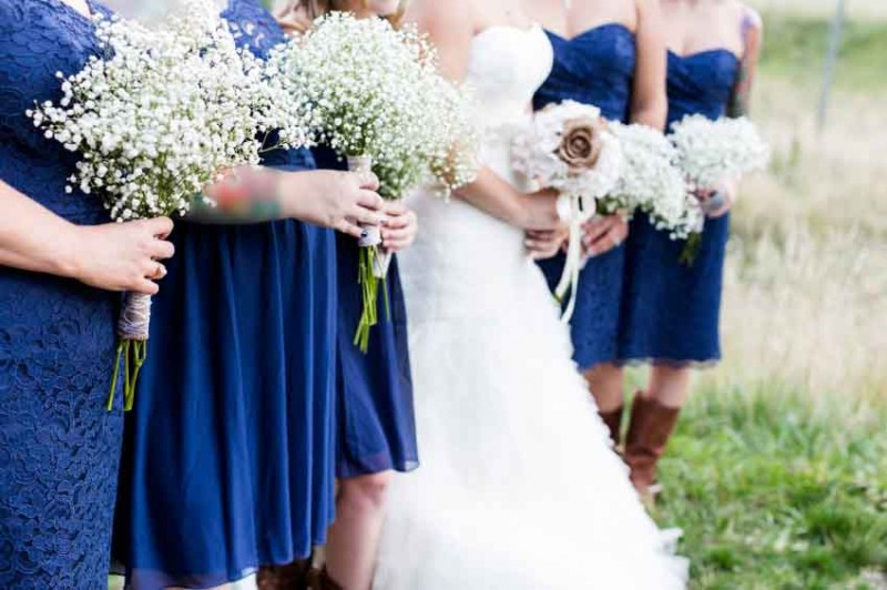 Small outdoor wedding in white and blue theme.