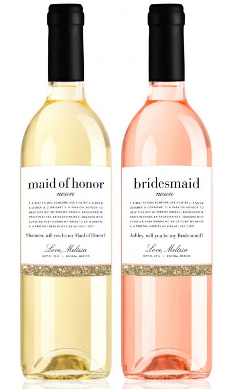 Wine bottle will you be my bridesmaid