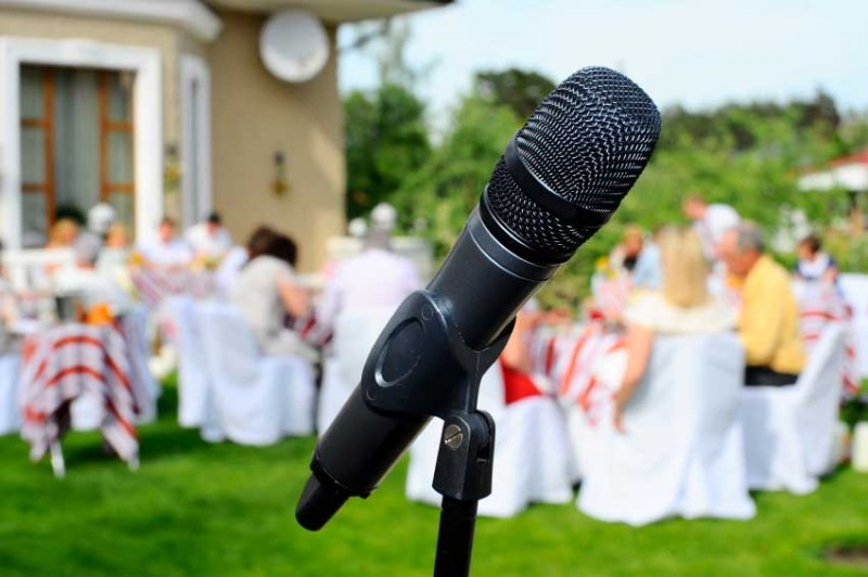microphone on the background of the wedding guests